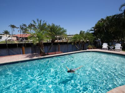 Photo for Waterfront Home, Large Heated Pool, 5 min. from the beach, family friendly