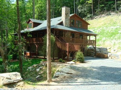 Photo for Little Creek Lodge - Creek side Valle Crucis cabin with Hot Tub.. 10 mins to Boone!