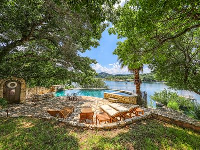 Photo for Luxury living on the waterfront w/ a private pool, hot tub, patio, & dock