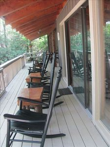 Get ready to rock! Huge deck and rocking chairs for all! Morning coffee on...