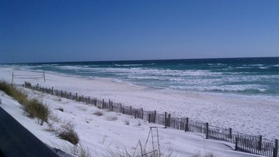 Beautiful sugar white sands and emerald water in the Crystal Beach neighborhood!