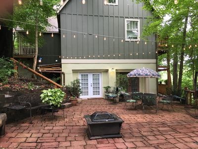 Patio with 2 separate entrances into units