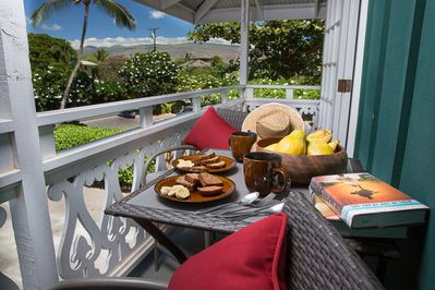 Enjoy a meal for two on the ocean view lanai