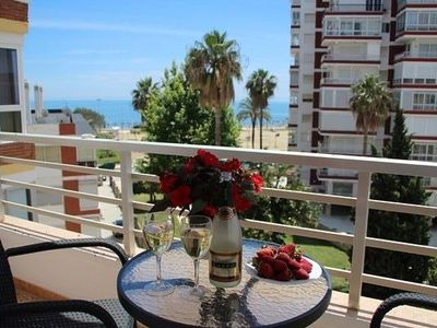 Photo for Lovely apartment with sea views from the terrace, pool, wifi and close to the beach