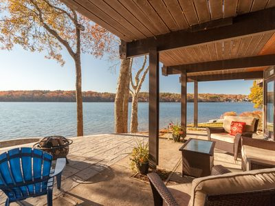 "Photo for Exceptional Lakefront ""Deck"" House with incredible water views!"