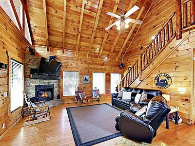 Photo for Luxe Cabin w/ Fireplace, Mountain Views, Billiards, Home Theater & Hot Tub