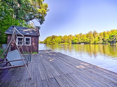 Photo for NEW! Lakefront Adirondacks Cabin w/Dock & Fire Pit