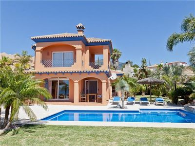 Photo for Beautiful 2 bed villa with stunning views & garden, Overlooking town of Estepona and Mediterranean s