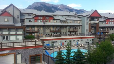 Photo for Luxury Condo - Private Patio/Mountain Views/Outdoor Pool/3 Hot tubs/Free Banff Park Pass