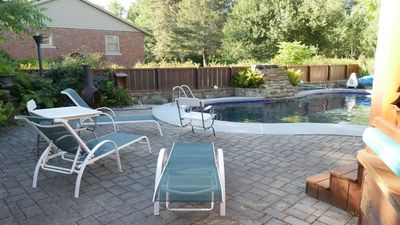 Outdoor heated pool for your friends and family to enjoy throughout the summer