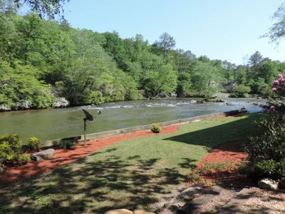 Photo for Secluded River Front Cabin, WiFi,  Coosawattee River Resort Screened in Porch
