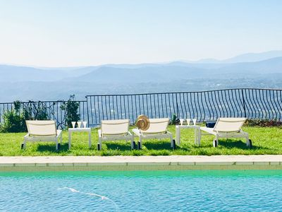 Photo for Valbonne, Beautiful Villa, Pool, Large Garden, exceptional view of Grasse
