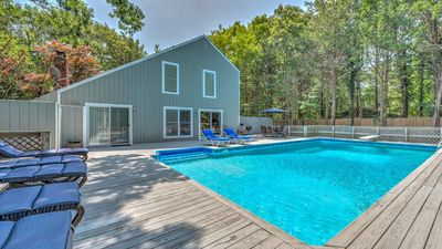 Photo for NEW LISTING Gorgeous home with large deck & attached heated pool, access to the Gardiners Bay community Beach!