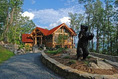You will love the drive up to this beautiful entrance at Big Bear in Eagle's Nest. #BannerElkNC