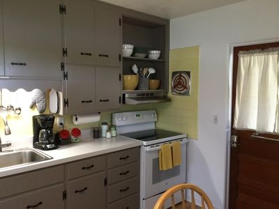 The kitchen is fully equipped to make delicious meals.
