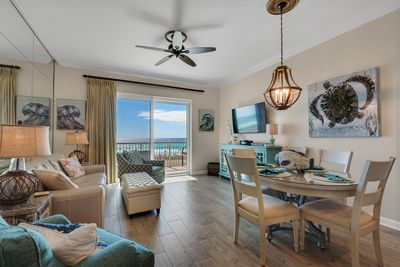Newly remodeled living room overlooking the gulf