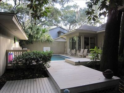 Front entrance with heated pool