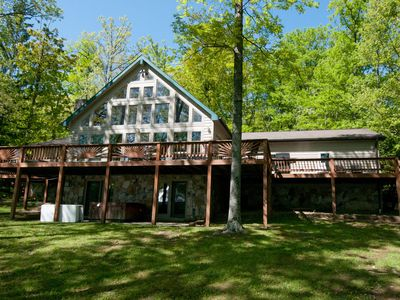 Photo for Spacious 4 Bedroom Home with Hot tub on Deep Creek lakefront!