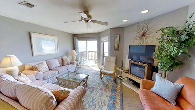 Spacious living area with direct beach access