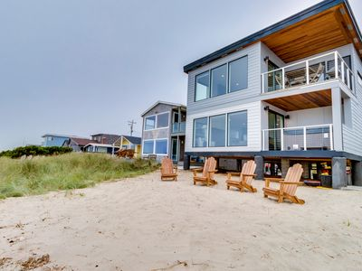 Photo for New, dog-friendly beachfront house with private hot tub & incredible views!