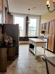 Charming kitchen with full appliances. Great for a family or romantic night in.