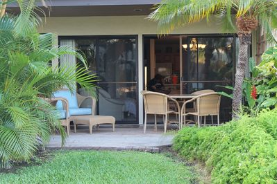View of outdoor seating area and lounge area