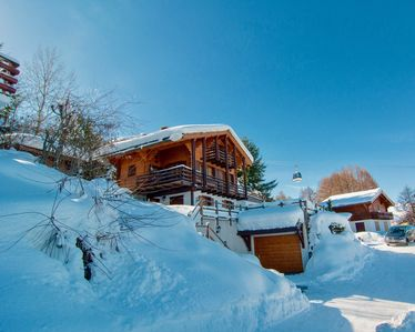 Photo for Luxury family ski-in ski-ski-out chalet, 8 person, Nendaz, quiet, stunning views