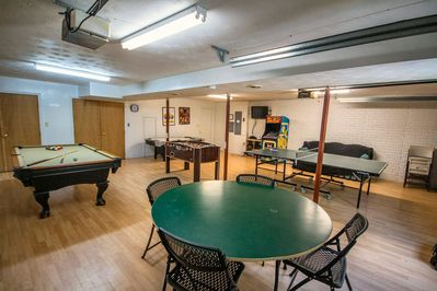 Large game room with ping pong, pool and foosball!