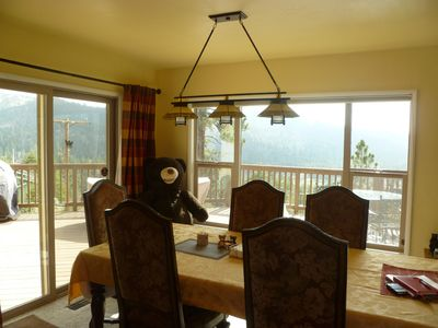 Large dining area with mascot 'Bear', the Lodge has mountaintop forever views!