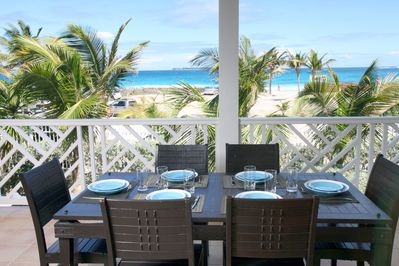 View on Orient Bay Beach from the 270 sq feet beachfront private balcony