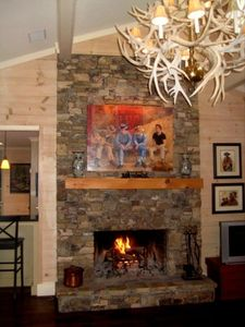 Living Room, Stacked-Stone Fireplace