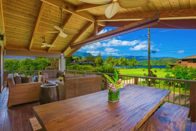 View of Hanalei Bay from our Lanai Dining Table
