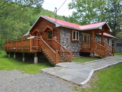 Photo for Newly Renovated Catskill Mountain Water Front Custom Log Home