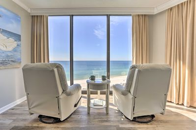 Enjoy top-notch home furnishings and views throughout the condo.