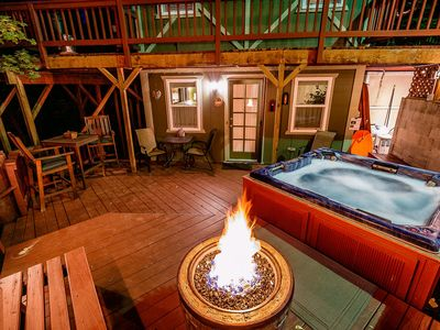 Photo for Cozy Cottage/HOT TUB!/Propane Fire Pit/Ambient Deck Lites