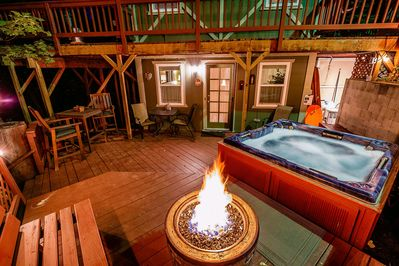 Back patio with hot tub & Fire Ring