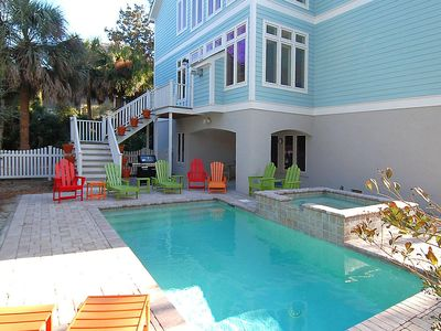 Photo for Newly built 4th row home with coastal decor, screened porch, pool and spa