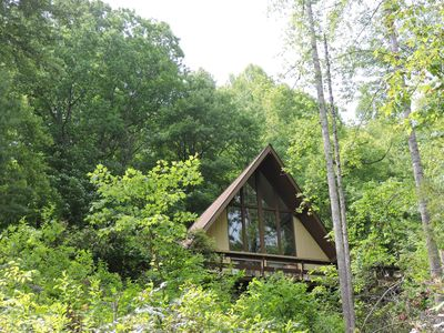 Front of cabin that faces Yellow Mountains.