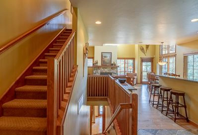 Kitchen View and Stairs to Bedrooms