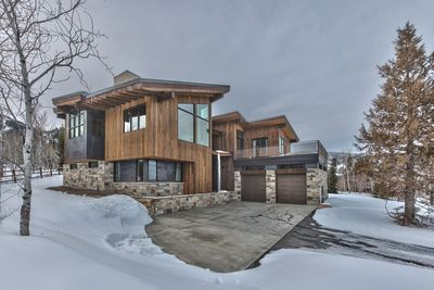 Stunning Newly Built Park City Aspen Creek Retreat in the Canyons Village Front Exterior with Heated Driveway