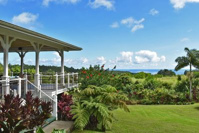 Kapehu Falls Retreat House. Ocean view Hawaiian villa. Casual elegance for 1-10.