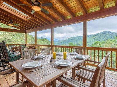 Photo for Charming Cabin, Mountain Views, Hot Tub, King Bed, Fire Pit, Close to Watauga River and Hiking