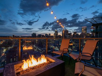Photo for Fire table patio with city/mountain views!