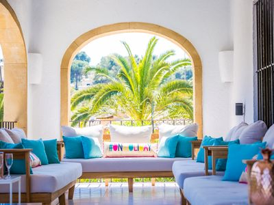 Photo for Luxury 8-bedroom Javea villa. Walk to the beach. Heated pool and bubbling Spa.
