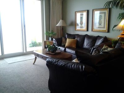 Beautifully furnished!  Living room overlooks the Gulf of Mexico.