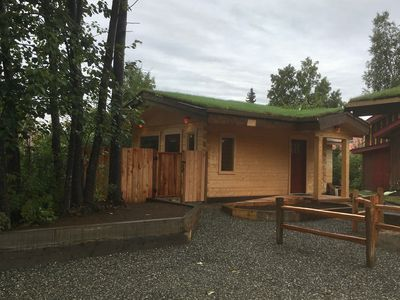 Photo for A cozy sod roofed log cabin located in the heart of Downtown Talkeetna.