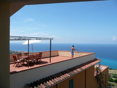 Photo for Apartment With Large Private Terrace Overlooking Tropea Marina