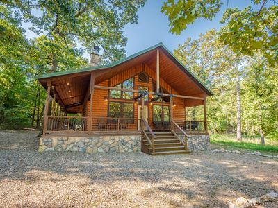 Photo for Luxury Couples Cabin in Hochatown (Hot Tub, Outdoor TV & Fireplace, 2 TVs)