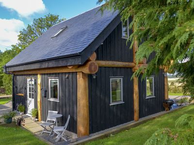 Photo for A True Log Cabin Experience built with Scottish Douglas fir trees. Pet Friendly.