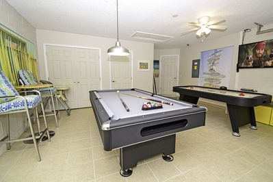 Alternative view of games room showing TV